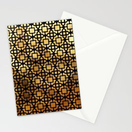 Luxurious Gold-Bronze Islamic Geometric Pattern Stationery Cards