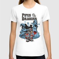 dungeons and dragons T-shirts featuring PIPES & DRAGONS by Adams Pinto