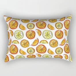 Illustrated Oranges and Limes Rectangular Pillow