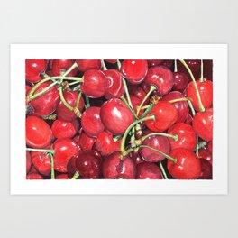 Juicy Watercolor Cherries Art Print