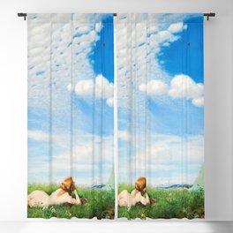 Skylark - Reclining Nude in Field of Poppies & Wildflowers landscape painting by Pál Szinyei Merse  Blackout Curtain