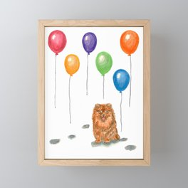 Pomeranian with balloons Framed Mini Art Print