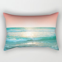Aqua and Coral, 1 Rectangular Pillow