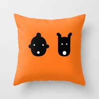 tintin Throw Pillows featuring tintin & milu by atipo
