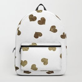 Glamorous Faux Gold Hearts Pattern Backpack