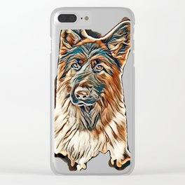 German shepherd portrait on white background        - Image Clear iPhone Case