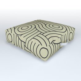 Circle Swirl Pattern Muted Green Inspired By Natural Olive Green - Martinique Dawn - Asian Silk Outdoor Floor Cushion