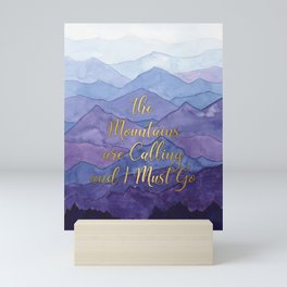 Blue Watercolor Mountains Calling Mini Art Print