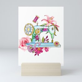 Sewing machine and thread for tailor watercolor Mini Art Print