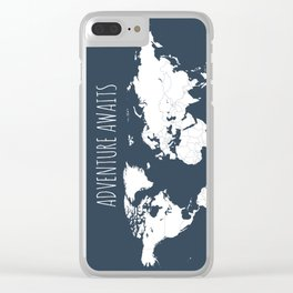 Adventure Awaits World Map in Navy Blue Clear iPhone Case