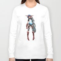 cyberpunk Long Sleeve T-shirts featuring Cyberpunk Monster Girl by lazylogic