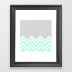 TWO-TONE MINT CHEVRON COLORBLOCK Framed Art Print