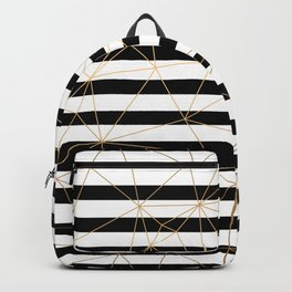 Gold Geometric Pattern Black and White Stripes Backpack