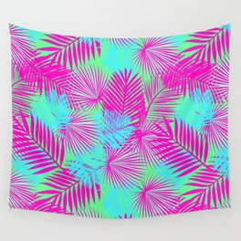 Neon Pink & Blue Tropical Print Wall Tapestry