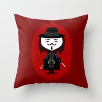vendetta Throw Pillows featuring Vendetta by Sombras Blancas Art & Design