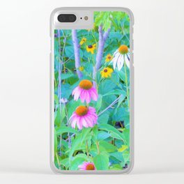 White and Purple Coneflowers and Yellow Rudbeckia Garden Clear iPhone Case