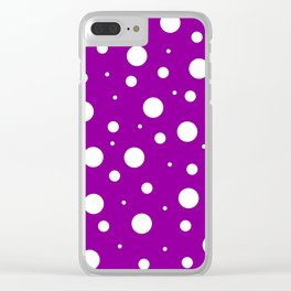 White asymetric polka dot pattern on purple, violet background, simple vintage style theme, classic Clear iPhone Case