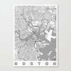Boston Map Line Canvas Print