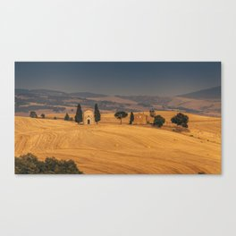 Small Church in Tuscany at sunset Canvas Print