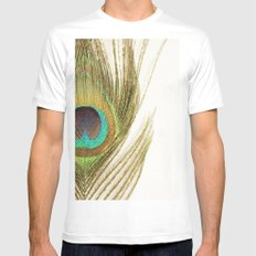 Peacock Feather White Mens Fitted Tee MEDIUM