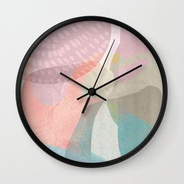 Shapes and Layers no.16 - Watercolor and pastel abstract painting Wall Clock