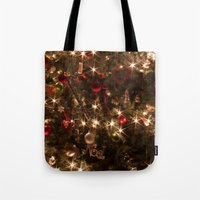 christmas tree Tote Bags featuring Christmas tree. by Assiyam