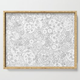 Clockwork B&W / Cogs and clockwork parts lineart pattern Serving Tray