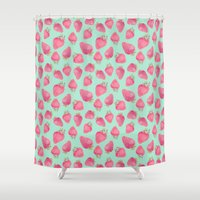 strawberry Shower Curtains featuring Strawberry  by Marta Olga Klara