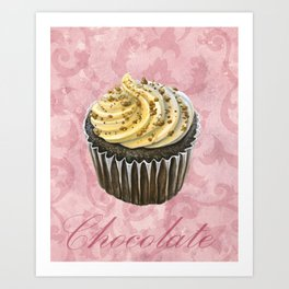 Chocolate Cupcake with Frosting on Pink Swirls Art Print