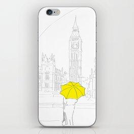 Yellow Umbrella Girl in London iPhone Skin