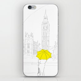 Yellow Umbrella Travel Girl on the River Thames, London iPhone Skin