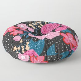 Pretty girly pink Floral Silver Dots Gray design Floor Pillow