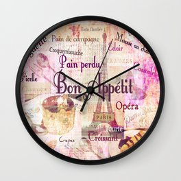 Bon Appetit French food words Wall Clock
