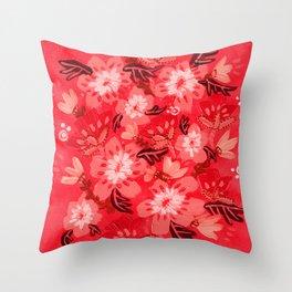 Cranberry Blooms Throw Pillow