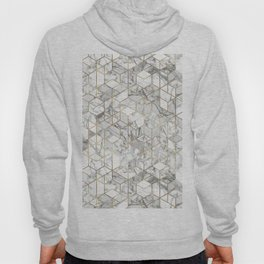 White marble geomeric pattern in gold frame Hoody