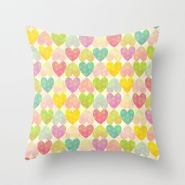 Colorful Sweet Candy Heart Pattern II Throw Pillow