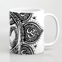 ohm Mugs featuring Ohm Symbol Flower Tattoo by Emma Lettera