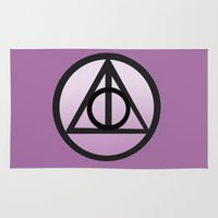 deathly hallows Area & Throw Rugs featuring Deathly Hallows by AriesNamarie