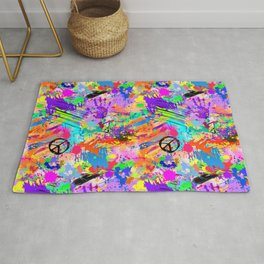 Psychodelic Hipppie Abstract Painting Rug