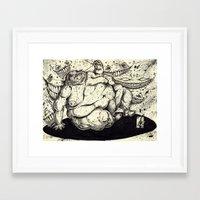 fat Framed Art Prints featuring FATTY FAT FAT by Johnny B. Pimp