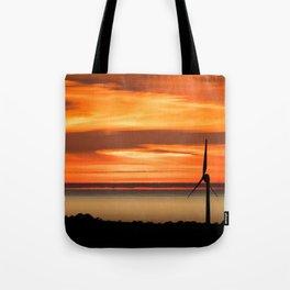 Isle of Anglesey Windmill Sunset over Irish Sea Tote Bag