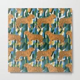 Tiger Neck Gator Abstract Tigers Metal Print