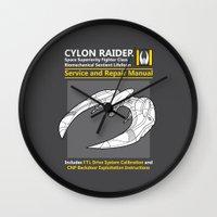 battlestar Wall Clocks featuring Cylon Raider Service and Repair Manual by adho1982