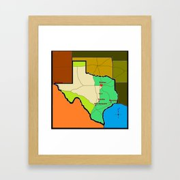 A Map of Texas with Waco on it Framed Art Print