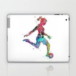 Girl Soccer Player Watercolor Print Sports Print Soccer Player Poster Laptop & iPad Skin