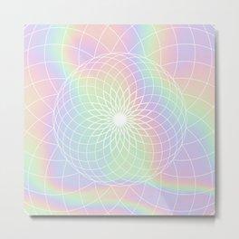 Sacred Geometric Holographic Circular Modern Floral Art, Retro Pastel Rainbow Hologram  Metal Print