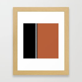 Greek Key 2 - Brown and Black Framed Art Print