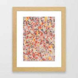 Orange Gray Ink Splatter Framed Art Print