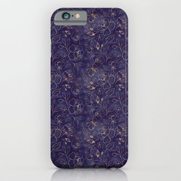 Gold Outlined Flowers Royal Navy Blue Oh Deer iPhone Case