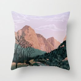 Zion National Park, Utah, USA Illustrated National Parks Throw Pillow